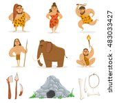 stone age tribe people and... | Shutterstock .eps vector #483033427