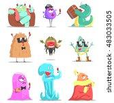 monsters attending posh... | Shutterstock .eps vector #483033505