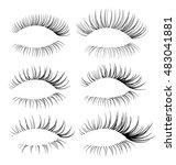 vector realistic eyelash... | Shutterstock .eps vector #483041881