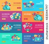 data provision set. cloud... | Shutterstock .eps vector #483044797