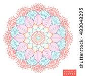flower mandala. vintage... | Shutterstock .eps vector #483048295