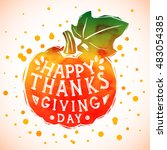 happy thanksgiving day greeting ... | Shutterstock . vector #483054385
