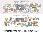 flat vector banners. business... | Shutterstock .eps vector #483055861