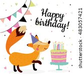 cute birthday greeting cards... | Shutterstock .eps vector #483057421