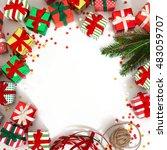 christmas wreath of gifts  fir...   Shutterstock . vector #483059707