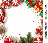 christmas wreath of gifts  fir... | Shutterstock . vector #483059725