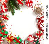 christmas wreath of gifts  fir... | Shutterstock . vector #483059731