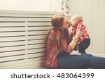 happy family mother and baby... | Shutterstock . vector #483064399