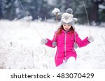 funny little girl having fun in ... | Shutterstock . vector #483070429