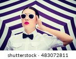 fashion portrait of a stylish... | Shutterstock . vector #483072811