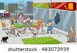 cartoon illustration of street...   Shutterstock .eps vector #483073939