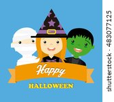 halloween costume party with... | Shutterstock .eps vector #483077125