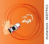 top view of a drifting car | Shutterstock .eps vector #483079411