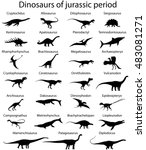 Silhouettes Of Dinosaurs Of...