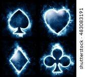 lightning card suits   Shutterstock . vector #483083191