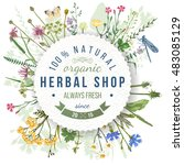 herbal shop round emblem over... | Shutterstock .eps vector #483085129