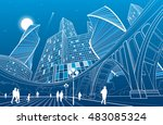 big bridge  night city on... | Shutterstock .eps vector #483085324