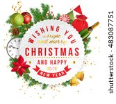 merry christmas emblem with... | Shutterstock .eps vector #483087751