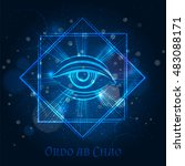 mystical mason sign with eye on ... | Shutterstock .eps vector #483088171