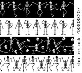 dancing skeletons seamless... | Shutterstock .eps vector #483088207
