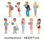 people read  students with books | Shutterstock .eps vector #483097141