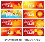 shiny autumn leaves sale banner ... | Shutterstock .eps vector #483097789
