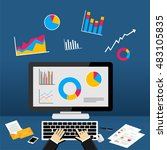 business dashboard on computer. | Shutterstock .eps vector #483105835