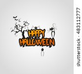 happy halloween message design... | Shutterstock .eps vector #483112777