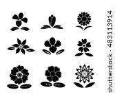 flower back and white vector | Shutterstock .eps vector #483113914