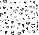 vector hearts hard drawn... | Shutterstock .eps vector #483121549