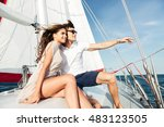 young beautiful married couple... | Shutterstock . vector #483123505