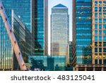 Small photo of Office buildings and South Quay footbridge in Canary Wharf, London