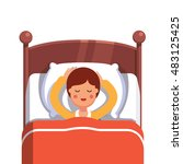 teen boy sleeping peacefully... | Shutterstock .eps vector #483125425