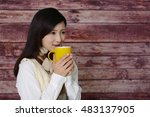 woman who enjoys the coffee... | Shutterstock . vector #483137905