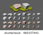 isometric stones for video games | Shutterstock .eps vector #483157441