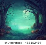 Stock photo halloween background spooky forest with dead trees and pumpkins halloween design with pumpkins 483162499