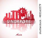modern singapore city skyline... | Shutterstock .eps vector #483163579