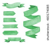 set of green watercolor ribbons ... | Shutterstock . vector #483174085