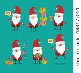 set of christmas santa claus.... | Shutterstock .eps vector #483175051