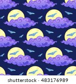 violet clouds  yellow moon and... | Shutterstock .eps vector #483176989