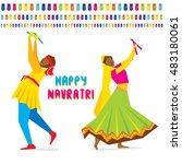 celebrate navratri festival...   Shutterstock .eps vector #483180061