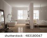 bedroom   bathroom in... | Shutterstock . vector #483180067