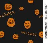halloween pattern vector | Shutterstock .eps vector #483180487
