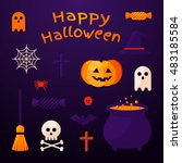 set of halloween ribbons and... | Shutterstock .eps vector #483185584