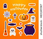 set of halloween ribbons and... | Shutterstock .eps vector #483185587