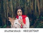 upset woman looking worried... | Shutterstock . vector #483187069