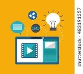 mobile social media flat icons...   Shutterstock .eps vector #483191257