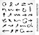 hand drawn arrows  vector set | Shutterstock .eps vector #483198709