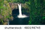 rainbow falls at wailuku river... | Shutterstock . vector #483198745