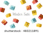winter sale concept with gift... | Shutterstock . vector #483211891